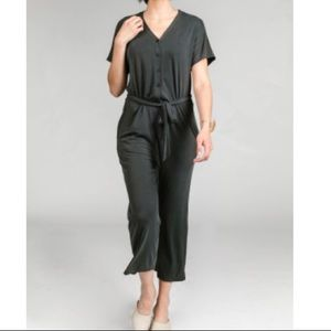 Belted charcoal jumpsuit